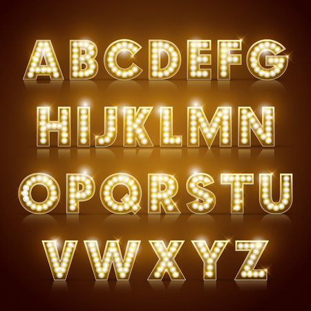golden font: modern lighting alphabet set isolated on brown background