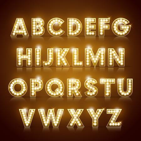 letras de oro: moderno sistema alfabético iluminación aislados sobre fondo marrón