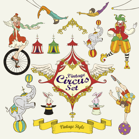 fantastic vintage circus set isolated over beige background Vector