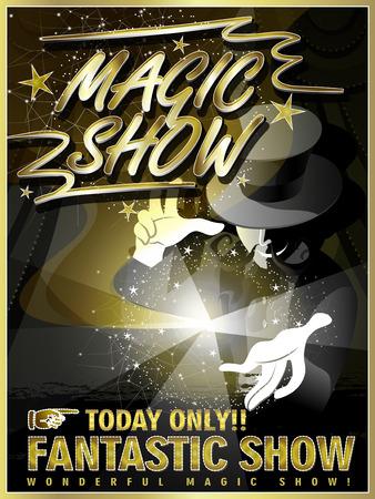 m�gica: espect�culo fant�stico cartel magia con el mago misterio