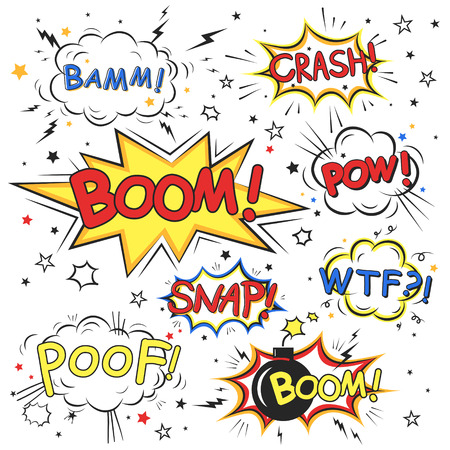 collection of multicolored comic sound effects over white Illustration