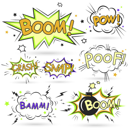 onomatopoeia: collection of multicolored comic sound effects over white Illustration