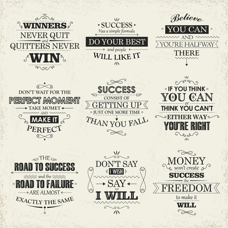 inspiration: motivational and inspirational quotes set isolated on beige background