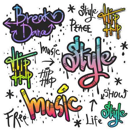 Art de la rue de graffiti décoratif dans différentes couleurs sur fond blanc Banque d'images - 37647452