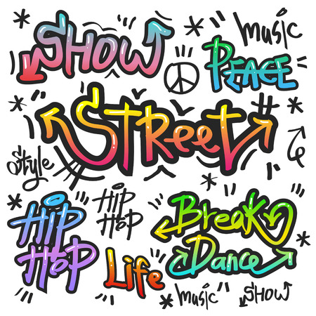 decorative street graffiti art in various color over white background