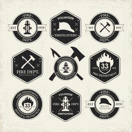다양한 소방서 상징은 베이지 색 배경 위에 고립 된 집합