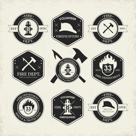 diverse fire department emblems set isolated over beige background