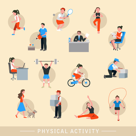 physical activity: physical activity icons set isolated over beige background