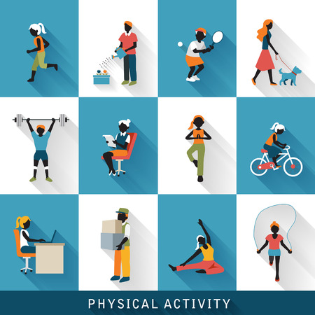 physical activity: modern physical activity icons set isolated over blue and white background