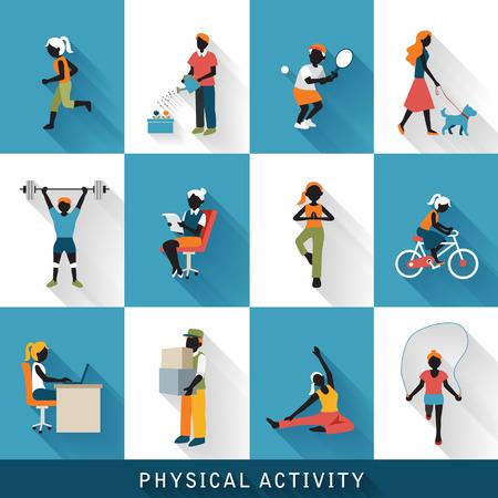 actividad fisica: modernos iconos de actividad física conjunto aislado sobre fondo azul y blanco