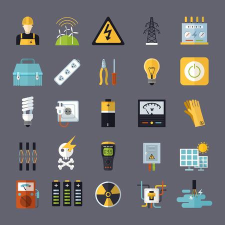 elektriciteit gerelateerde vlakke pictogrammen die op grijze achtergrond