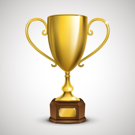 exquisite golden trophy isolated on grey background 일러스트