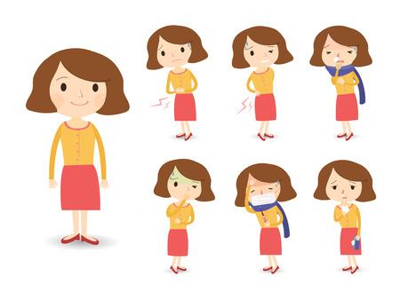 enfermo: diversos síntomas de enfermedad en estilo de dibujos animados aislados sobre fondo blanco Vectores