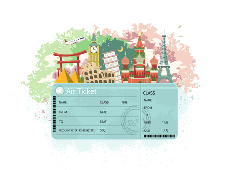 close-up look at flight ticket with famous monument around the world