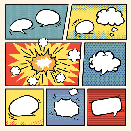comic book: comic book style speech bubbles set over colorful background