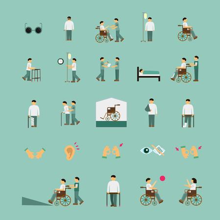 Las personas con discapacidad les importa ayudar a los iconos planos establecidos sobre fondo azul turquesa Foto de archivo - 37647467