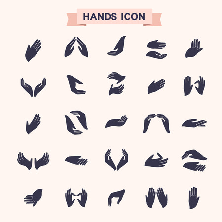 clapping: various hand gestures icons set isolated over white
