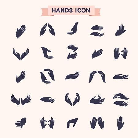 verschillende handgebaren icons set geïsoleerd over white