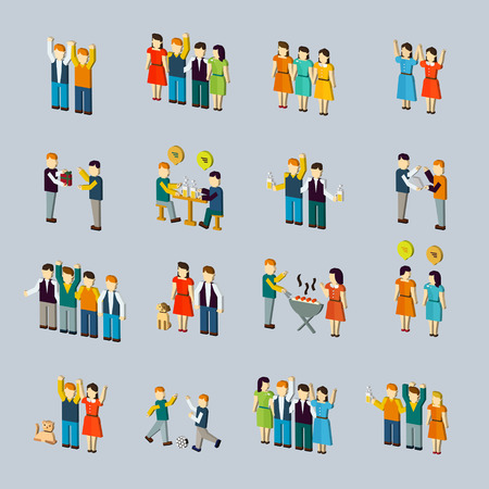teammate: social activity isometric icon set isolated over blue background
