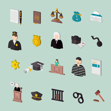 oath: law and judgment isometric concept icons set over turquoise
