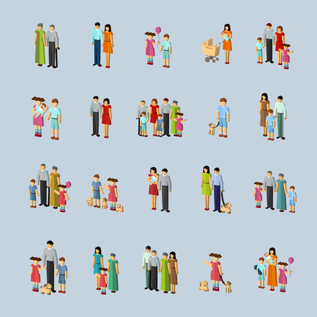 family concept isometric icons set over blue background