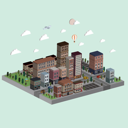 city live: flat 3d isometric city life illustration over bright background
