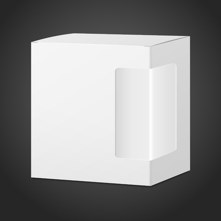 plastic window: package cardboard box with transparent plastic window isolated on black