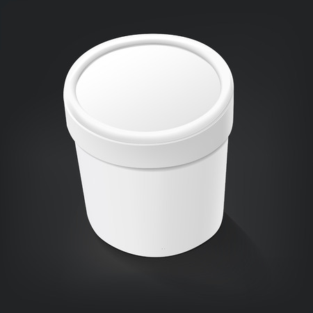 ice cream cup: blank food plastic container isolated over black background