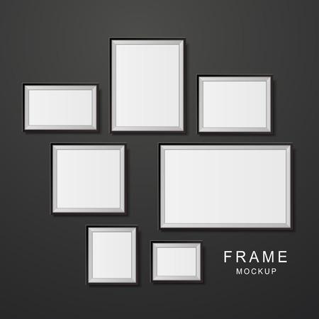 home products: photo frame mockup set isolated on black wall Illustration