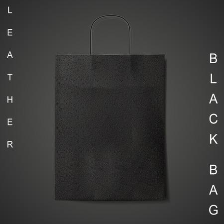 reusable: black leather bag isolated on black background Illustration
