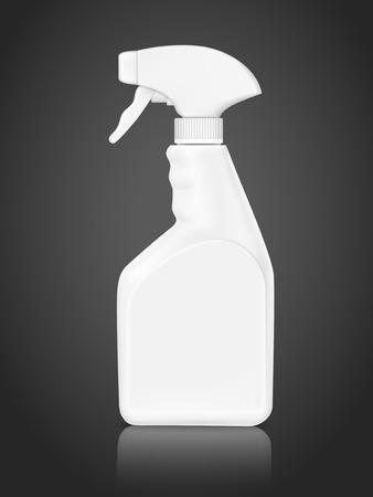 blank bottle spray detergent isolated on black background