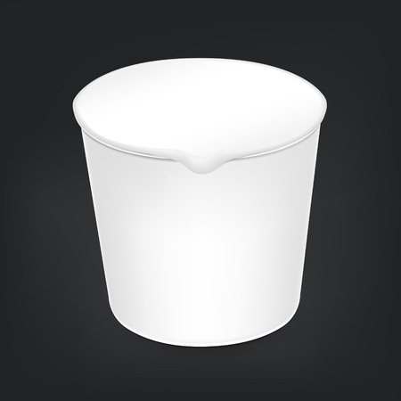 airtight: blank food cup package isolated on black background Illustration