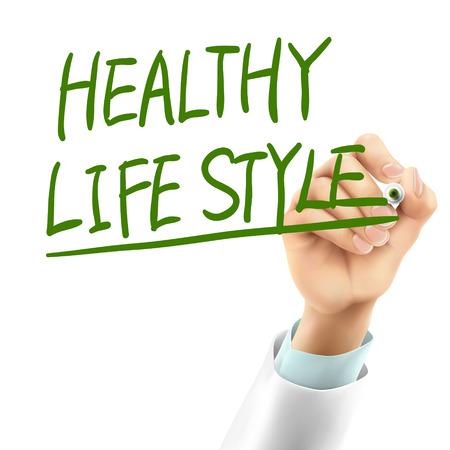 life style: m�decin �crire des mots de style de vie en bonne sant� dans l'air