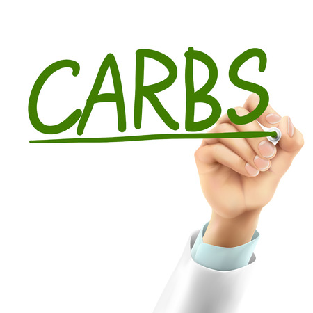 carbs: doctor writing carbs word in the air Illustration