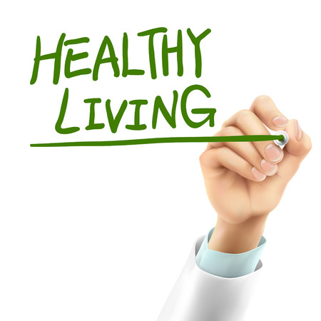 Doctor que escribe palabras de vida saludables en el aire Foto de archivo - 37724219