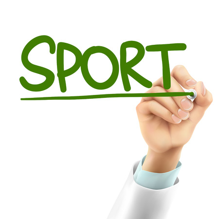 air sport: doctor writing sport word in the air
