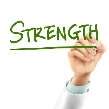 firmeza: médico por escrito la palabra fuerza en el aire Vectores
