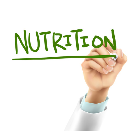 nutrition doctor: doctor writing nutrition word in the air
