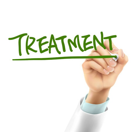 physical therapy: doctor writing treatment word in the air