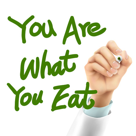 what to eat: doctor writing you are what you eat words in the air Illustration