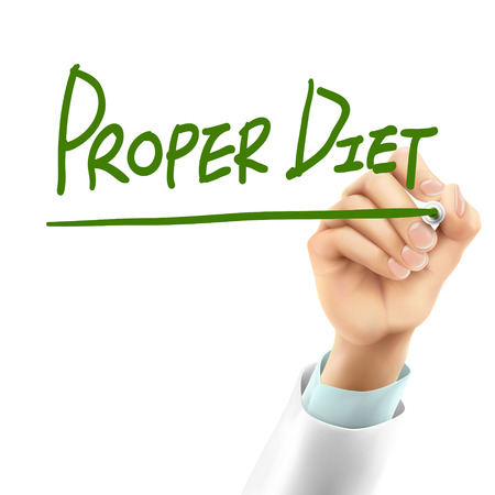 proper: doctor writing proper diet words in the air