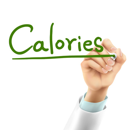 calories: doctor writing calories word in the air