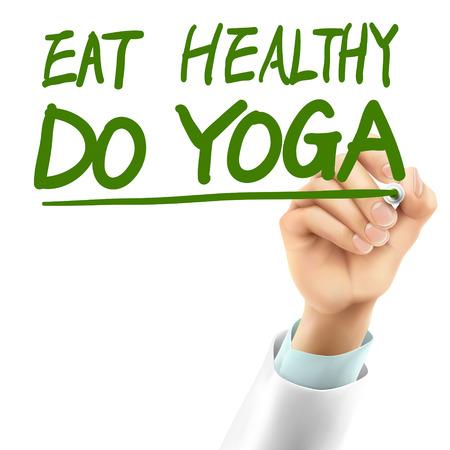 comer sano: m�dico escrito comer saludable hacer yoga palabras en el aire