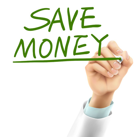 doctor money: doctor writing save money words in the air
