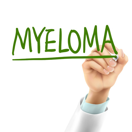 lesions: doctor writing myeloma word in the air