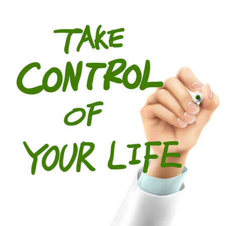 doctor writing take control of your life words in the air Vectores