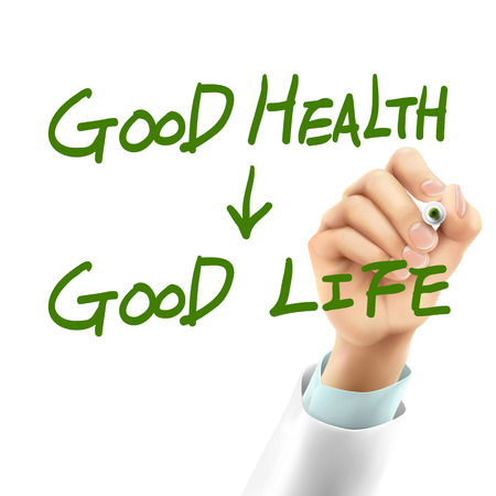 good life: doctor writing good health make good life words in the air