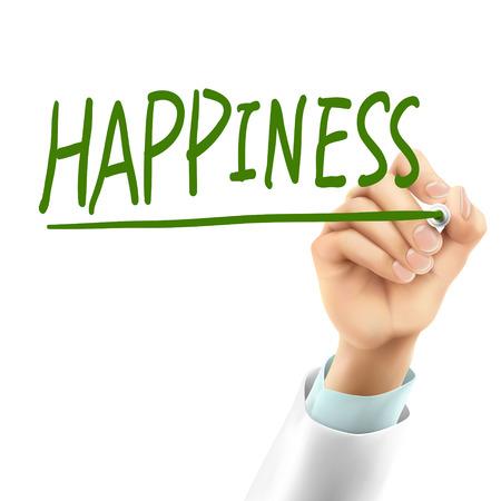 doctor writing happiness word in the air Zdjęcie Seryjne - 37724270