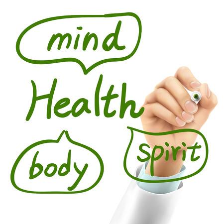 空気で健康単語を書く医師