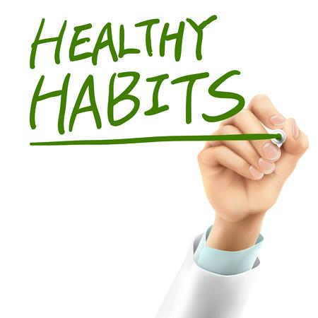 habitos saludables: m�dico por escrito h�bitos saludables palabras en el aire